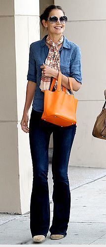 3a1770148744 Denim on Denim - Katie Holmes also has a lovely orange purse that I  wouldn't mind nabbing.
