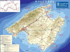 Tourist map of the island of Mallorca, Spain in the Mediterranean. from the Consell de Mallorca. Mallorca Beaches, Tourist Map, Tourist Information, Balearic Islands, City Maps, South Of France, Spain Travel, Holiday Destinations, South Beach