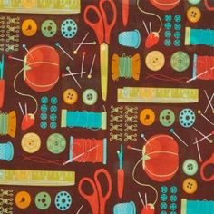 MODA Cotton Craft Fabric - Novelty Sewing Notions Ephemera Chocolate Brown - Sewing Box by Gina Martin Sewing Box, Sewing Notions, Cotton Crafts, Fabric Crafts, Missouri Star Quilt, Cool Fabric, Kids Rugs, Quilts, Chocolate Brown