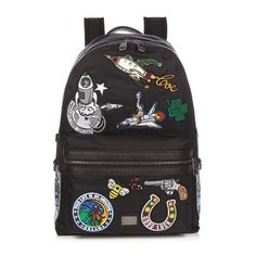 Dolce & Gabbana Patch-appliqué nylon backpack ($1,300) ❤ liked on Polyvore featuring men's fashion, men's bags, men's backpacks, bags and black multi