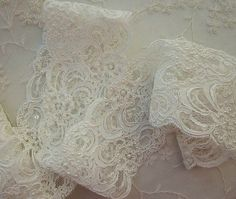 3 inch Ivory Cream Pearl Sequin Beaded Lace by delightfuldesigner