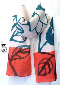 Hand painted silk scarf. Red Floral Scarf, Japanese Floral Silk Scarf