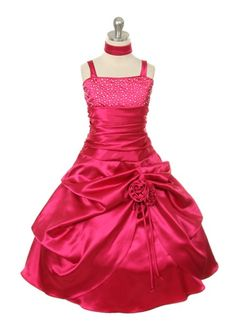 255a446fce7 NEW Fushia Satin Flower Pageant Birthday TEA Party Girl Dress Girls Pageant  Dresses