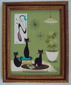 EL GATO GOMEZ PAINTING RETRO MID CENTURY MODERN EAMES BLACK CAT MARIJUANA 1960'S #Modernism