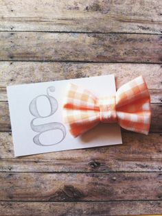 Boys Clip-On Bow Tie in Peach Gingham by GraceCoHandmade
