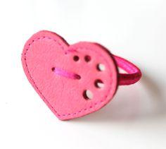 Hår elastik - Pink heart