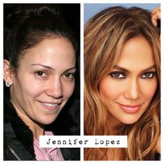 Jennifer Lopez no makeup before and after.