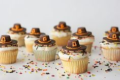 pilgrim hat cupcakes or just pilgrim hat cookies.  Why didn't I ever think of this when I was doing the witch's hats?