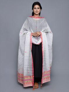 White Pink Raw Silk Cotton Dupatta