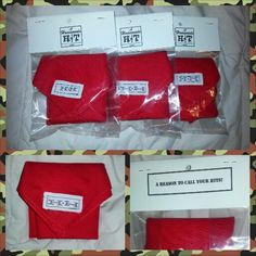 """Airsoft Dead Rags With Added Velcro (packaged):  A red bandana with Velcro strip sewn on in corner. Added """"H-H"""" brand name tag (Homemade Hits). Packaged in plastic bag with cardstock top enclosing tab."""