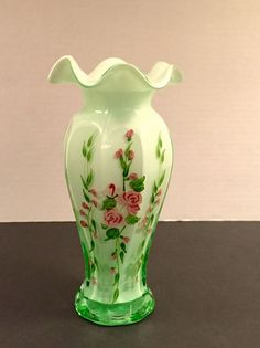 VINTAGE 1950'S FENTON CASED GLASS HAND PAINTED VASE, GREEN OVERLAY WITH ROSES
