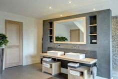 blauwe beton look. Cape Cod Bathroom, Laundry In Bathroom, Master Bathroom, Baths Interior, Bathroom Interior, Bad Inspiration, Bathroom Inspiration, Beach Cottage Kitchens, Chic Beach House