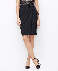 Bow Pencil Skirt, classic style with a little festive detail perfect for an office holiday dinner l Ann Taylor