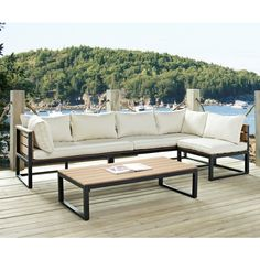 Walker Edison All Weather 4 Piece Modern Outdoor Patio Furniture Set Cushions Outdoor Sofa Sets, Outdoor Decor, Patio Sets, Outdoor Sectional, Outdoor Living, Contemporary Outdoor Sofas, Contemporary Style, Patio Furniture Sets, Furniture Design