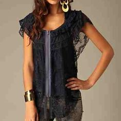 Free people fly away zippers lace top Midnight/ dark blue.lace, flutter sleeves, exposed zipper, cropped back. Looks gorgeous on, perfect for layering! Brand new without tags- I've had it forever but haven't worn it since my style has changed! Free People Tops