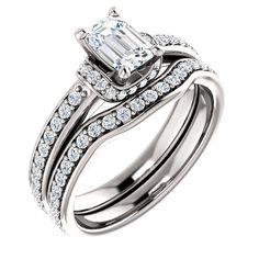 0.75 Ct Emerald Diamond Engagement Ring 14k White Gold – Goldia.com