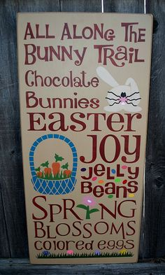 Easter primitive wood sign by PrimitiveHodgePodge on Etsy