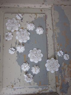 3D paper lace flower wall art in natural colors with soft pink glass beads