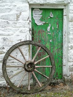 Door in the Ulster American Folk Park, Omagh, Northern Ireland.
