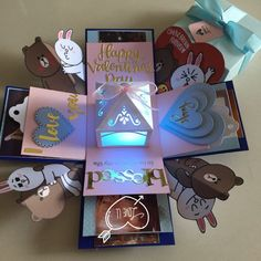 Brown And Cony 3 Layers Valentine Explosion Box With Lighthouse,and 8 Personalized Photos, Design & Craft, Others on Carousell Diy Gift Box, Diy Box, Diy Gifts, Birthday Explosion Box, Birthday Box, Diy Birthday Gifts For Sister, Exploding Gift Box, Pop Up Box Cards, Paper Crafts