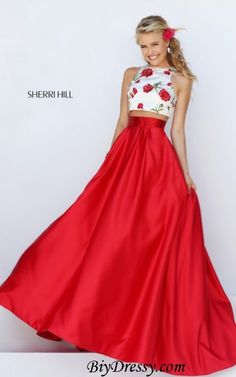Sherri Hill 50232 Floral Printed 2pc Ivory Red Prom Dress