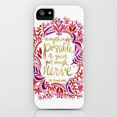 iphone6 iphone cases.  Floral design and quote.  Anything's Possible – Gold & Red by Cat Coquillette