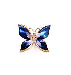 Rhinestone Butterfly Pin | Vintage Butterfly Brooch Blue Enamel / by VintagePennyLane on Etsy