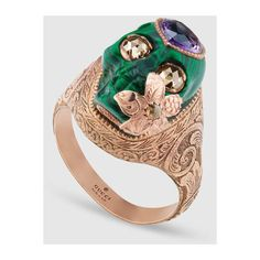 Gucci Skull Ring With Heart In Gold (4,831,485 KRW) ❤ liked on Polyvore featuring jewelry, rings, heart ring, chain ring, gold heart ring, gold skull ring and 18k gold jewelry