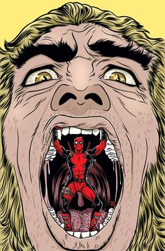 #Deadpool #Fan #Art. (Deadpool Vol.4 #10 Cover) By: Mike Allred. (THE * 5 * STÅR * ÅWARD * OF: * AW YEAH, IT'S MAJOR ÅWESOMENESS!!!™)[THANK U 4 PINNING!!!<·><]<©>ÅÅÅ+(OB4E)(I NEVER SAW THE LOW HANGING FRUIT BETWEEN HIS LEGS ALL THIS TIME!!! LMAOROTF!!!!!)
