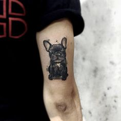 French Bulldog Tattoo by Felipe Mello #AnimalTattoos