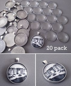 This supply pack has supplies for making twenty 30mm antique silver pendants with glass! Included with this supply pack: - 20 30mm antique silver keychain blanks - 20 matching heavyweight glass covers