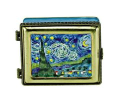 "Kelvin Chen Enameled Miniature Box - Starry Night by Kelvin Chen. $29.95. This Enamel miniatures piece is entirely handmade and hand painted.. Hinged Lid. Box has three small inside compartments and is lined with a cloth lining.. Measures:  3""W x 2 1/2""D x 1""H. The Artist name and item number are inscribed on the bottom. Limited production.. Hinged Lid. Box has three small inside compartments and is lined with a cloth lining.  The Artist name and item number are inscribed..."