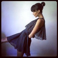 Thrifted  retro polka dots little black dress