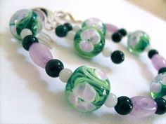 #Green and #Pink #Earring and #Bracelet Set #jewelry #thecraftstar $22.95