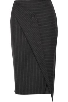Charcoal and white wool-twill Concealed hook and zip fastening at back 100% wool Dry clean