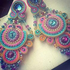 >>>Cheap Sale OFF! >>>Visit>> earrings soutache by Daniela Cipolla Bohemian Crafts, Bohemian Jewelry, Beaded Jewelry, Handmade Jewelry, Jewellery, Soutache Earrings, Crochet Earrings, Soutache Tutorial, Tambour Beading