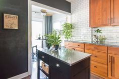 countertop to ceiling tile, chalkboard wall