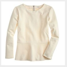 J. Crew Ponte Peplum Long Sleeve Top Super cute, long sleeve peplum top that is a cream color! Zips all the way up in the back and has never been worn and in great condition. Perfect to pair with some skinny jeans! J. Crew Tops Tees - Long Sleeve