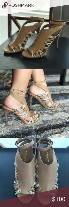Coach size 7.5 tan heels Coach heels size 7.5 elegant tan with snake pattern side ties new never worn *Reasonable offers welcome  Coach Shoes Heels