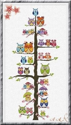 #Owl Family Tree cross stitch chart Alessandra Adelaide Needlework $18.00