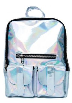 New Hologram Holographic Gammaray Silver Laser Leather School Backpack Tote  Bag 8b9772653866
