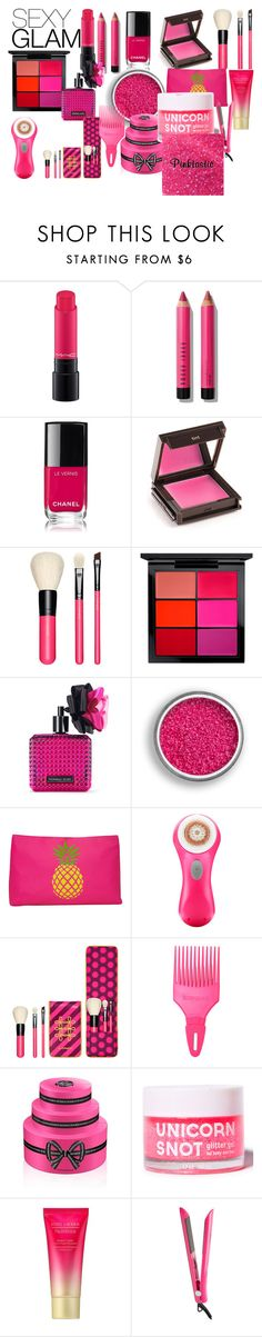 """""""PINK sexy glam"""" by eeh62004 ❤ liked on Polyvore featuring beauty, MAC Cosmetics, Bobbi Brown Cosmetics, Jouer, Victoria's Secret, T-shirt & Jeans, Clarisonic, Denman, Viktor & Rolf and Estée Lauder"""