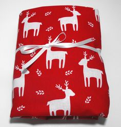White Reindeer on Red Fits Standard Crib and Toddler Mattresses Christmas Sheet by KidsSheets on Etsy