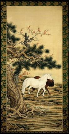Landscape with horses        Chinese, 20th century      Pu Qin, 1876–1966    Dimensions      183.3 x 81.5 cm (72 3/16 x 32 1/16 in.)  Medium or Technique      Ink and color on silk  Classification      Paintings     Type      Hanging scroll  Accession Number      1978.416  Not on view