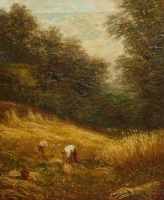 "Joseph Linnell ""Harvesting the Wheat"" 12x10 Oil on Canvas"