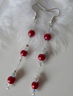 boucles d'oreilles cristal swarovski blanc framboise pr.mariage/mariée/soirée €4.50