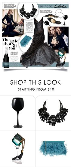 """Black Chokers"" by lenochca ❤ liked on Polyvore featuring Mikasa, Vera Wang, Marc Jacobs, A di Alcantara and blackchokers"