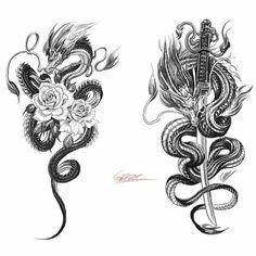 Sword Dragon Tattoo Design tattoo designs ideas männer männer ideen old school quotes sketches Badass Tattoos, Cute Tattoos, Beautiful Tattoos, Body Art Tattoos, Small Tattoos, Arabic Tattoos, Tatoos, Belly Tattoos, Wing Tattoos
