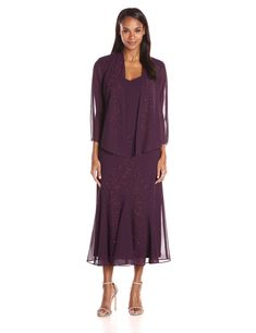 R&M Richards Women's Beaded Chiffon Jacket Dress - Eggplant 12 Black Dress Jacket, Dress Black, Plus Size Maxi Dresses, Short Sleeve Dresses, Pretty Dresses, Beautiful Dresses, Chiffon Jacket, Very Short Dress, Mauve Dress