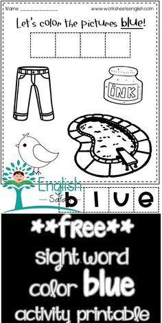 Sight word blue activity worksheet for preschool and kindergarten. Color jeans, tweetybird, pool and inkpot blue. Cut the letter tiles to form the word blue. Paste it. Color Blue Activities, Red Crayon, Color Jeans, Picture Tiles, Remember The Name, Blue Cups, Sight Word Activities, Word Free, Activity Sheets